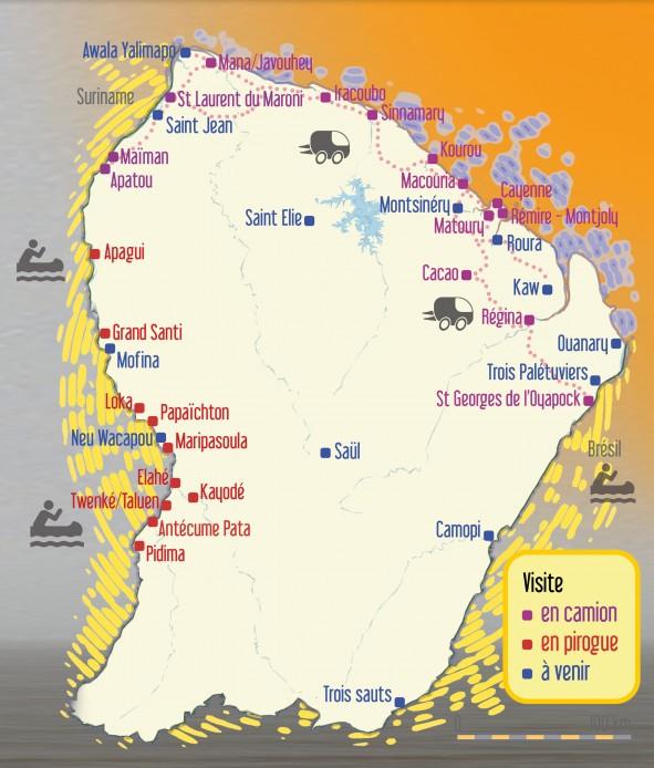 Carte des actions de la Canopée des Sciences sur l'ensemble du territoire