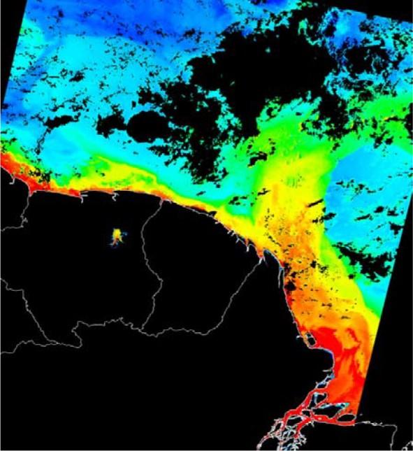 Cette image satellite en fausses couleurs montre le panache de l'Amazone, matérialisé en rouge et jaune par les fortes concentrations en chlorophylle : une branche rejoint au large le contre-courant de l'Atlantique Equatorial, tandis qu'une autre se répand le long de la côte des Guyanes jusqu'à sa rencontre avec le panache de l'Orénoque. (Source European Space Agency MERCI on-line data archive)